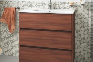 ARENYS BATHROOM WITH LED LIGHT AND MIRROR - DARK BROWN
