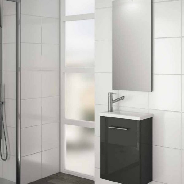 Micro Bathroom Set with Mirror and LED Light