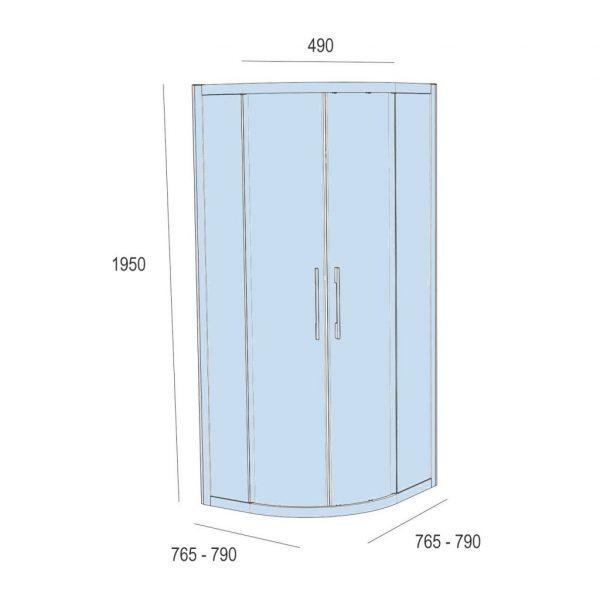 Clear Semicircular Shower Screen