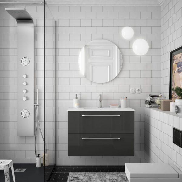 Fussion Chrome 2 Drawer Bathroom Set 80cm