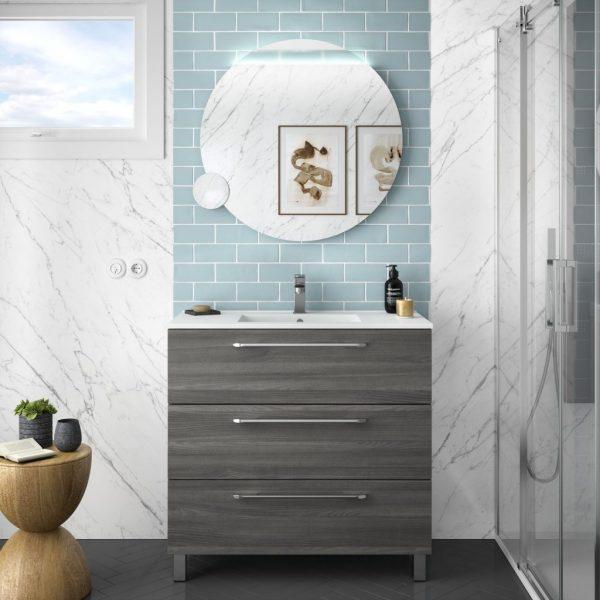 Fussion Chrome 3 Drawer Bathroom Set 90cm