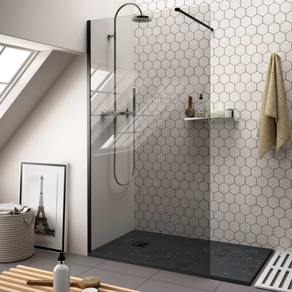 Heaven Black Shower Screen with Smoked Glass