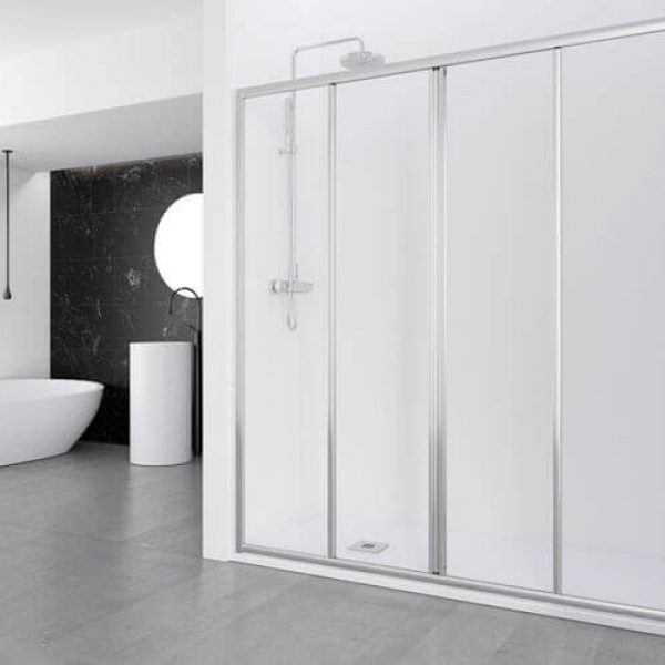 Aday Shower Screen with 2 Fixed Panels and 2 Sliding Panels
