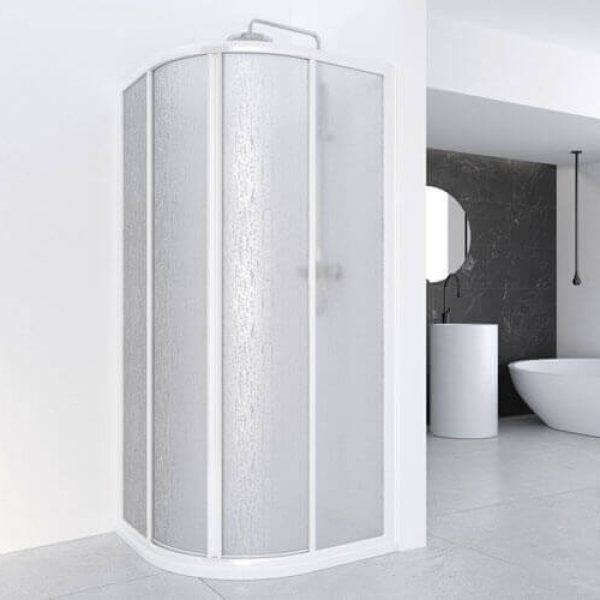 Cumus Acrylic or Glass Silver Curved Shower Screen