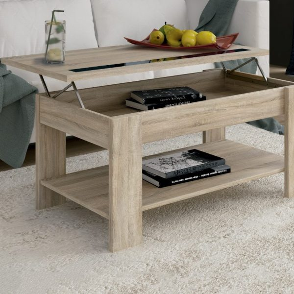Coffee Table with lifting top with glass strip.